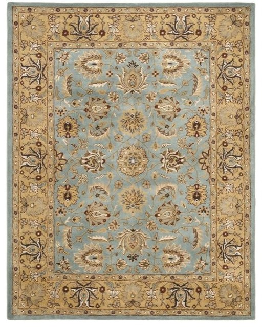 Handmade Heritage Mahal Blue Gold Wool Rug Traditional