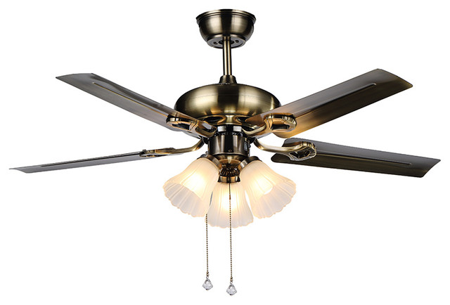 Modern Ceiling Fan 3 White Glass Shade Lights