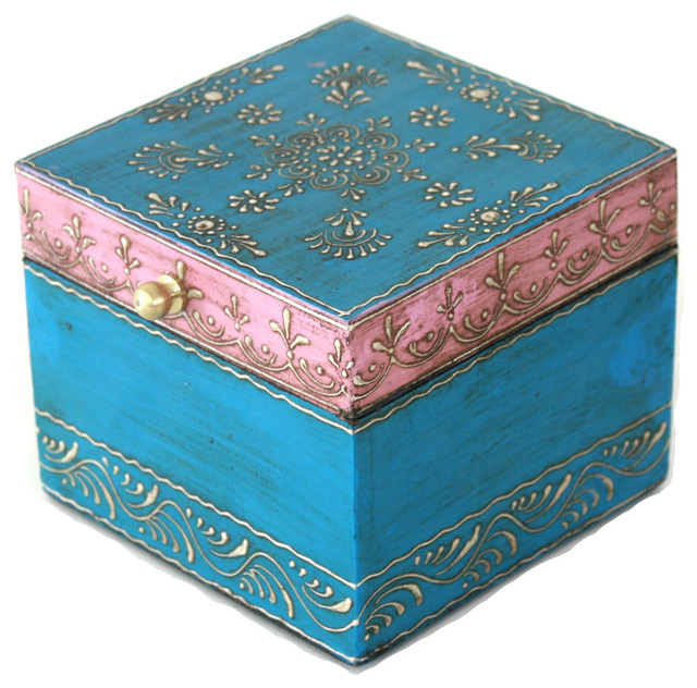 Wooden Hand Painted Jewelry Box In A Beautiful Pink And