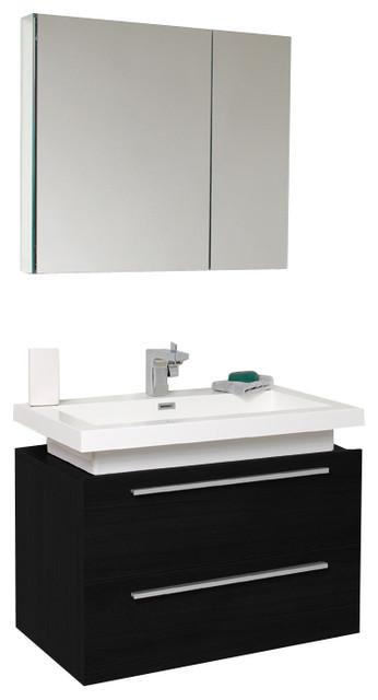 fresca medio black modern bathroom vanity with medicine