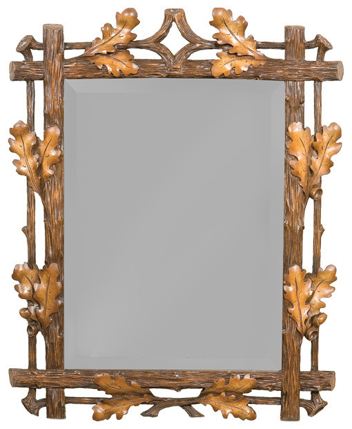 medium oak leaf mirror rustic home decor by black