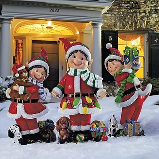 Set of three fiber optic elves outdoor christmas Traditional outdoor christmas decorations