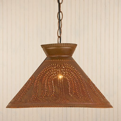 Punched tin shade light in rustic tin for Houzz rustic lighting