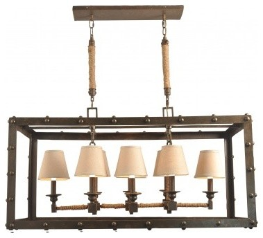 rustic iron rectangular chandelier industrial chandeliers. Black Bedroom Furniture Sets. Home Design Ideas