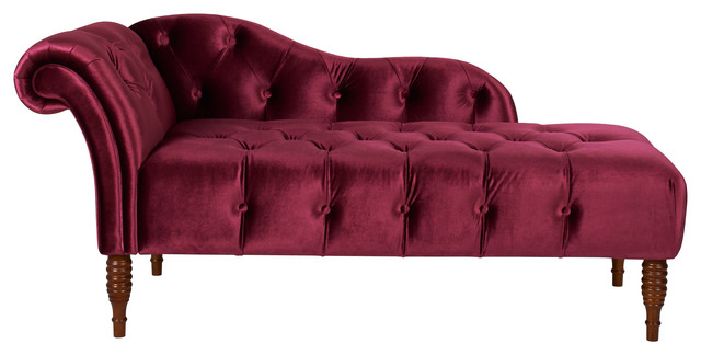 Chaise lounge right arm facing burgundy hand tufted for Burgundy chaise lounge