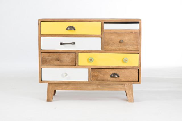 Commode design 9 tiroirs en bois avec tiroirs multicolores eclettico com - Commode tiroirs multicolores ...