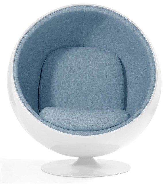 Luna Circle Lounge Chair White Light Blue Contemporary