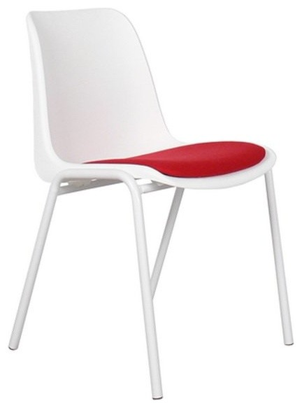 chaise zuiver back to gym blanche et rouge contemporary
