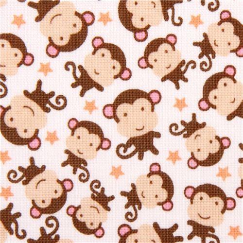 White riley blake monkey animal fabric 39 sweet monkeys for Baby monkey fabric prints