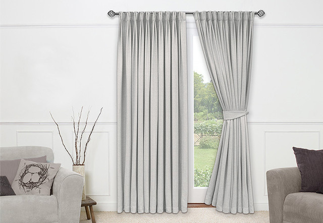 Neutral Living Room Drapes By