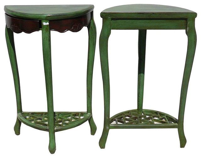 Unfinished Wood Plant Stand ~ Rustic green solid wood plant stand eclectic