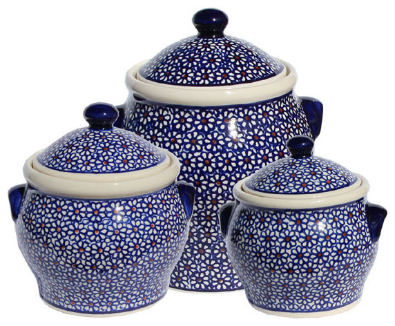 Polish Pottery Canister Set Pattern Number 120set Farmhouse Kitchen Can