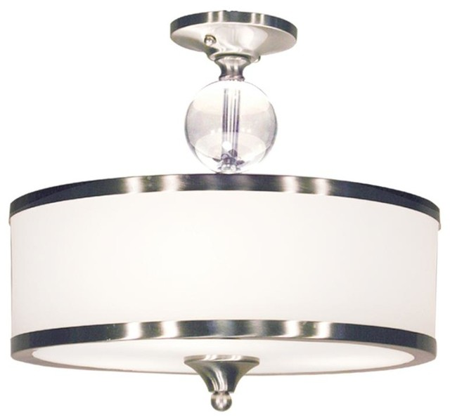 3 light semi flush mount with white glass drum shade. Black Bedroom Furniture Sets. Home Design Ideas