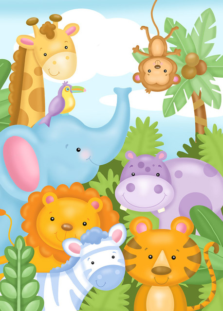 Safari friends wall mural contemporary wall decals for Baby jungle mural