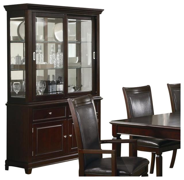 Coaster Ramona Formal Dining Room China Cabinet in Walnut Finish - Transitional - China Cabinets ...