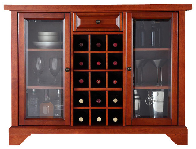 64 in. Bar Cabinet in Cherry Finish - Contemporary - Wine And Bar Cabinets - by ShopLadder
