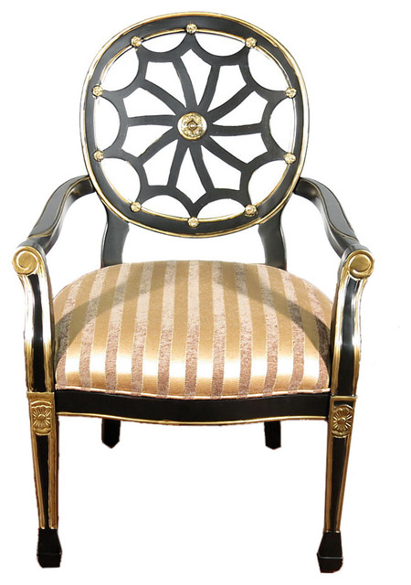 spider back striped occasional arm chair black and gold traditional armchairs and accent. Black Bedroom Furniture Sets. Home Design Ideas