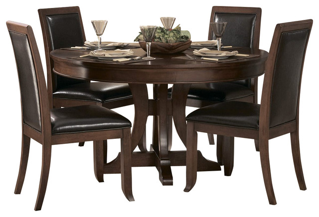 Homelegance avalon 5 piece round pedestal dining room set for Traditional round dining room sets