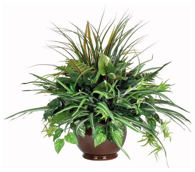 Artificial pothos mixed greenery centerpiece in brown
