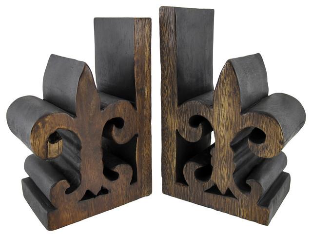 Pair of wooden fleur de lis bookends traditional bookends by zeckos - Fleur de lis bookends ...