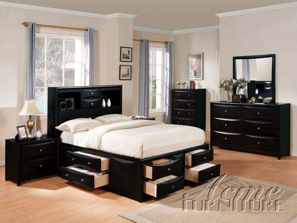 Contemporary Bedroom Set London Black By Acme Furniture: Manhattan Black Finish Wood Storage Full