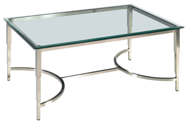 Sheila Rectangular Glass Top Cocktail Table With Brushed Stainless Steel Base Contemporary