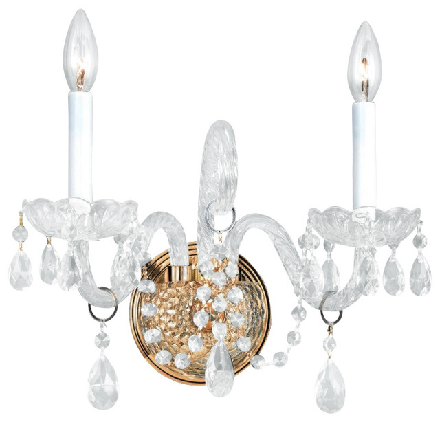 Traditional Crystal Wall Lights : Traditional Crystal Two Light Polished Brass Wall Light - Traditional - Wall Sconces - by We Got ...