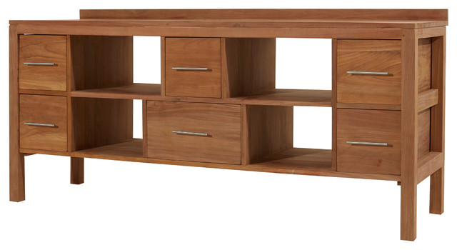 Meuble salle de bain en bois de teck brut 180 galyno - Petit meuble bois brut ...