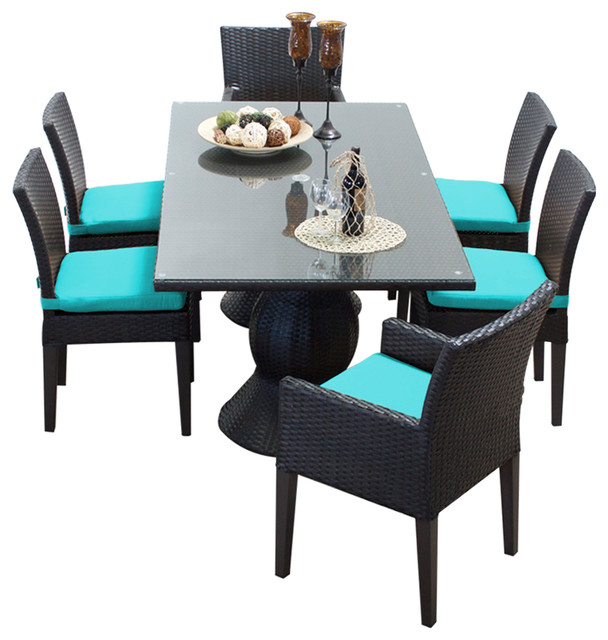 Saturn Rectangular Outdoor Patio Dining Table With 6 Chairs 2 for 1 Cover Set