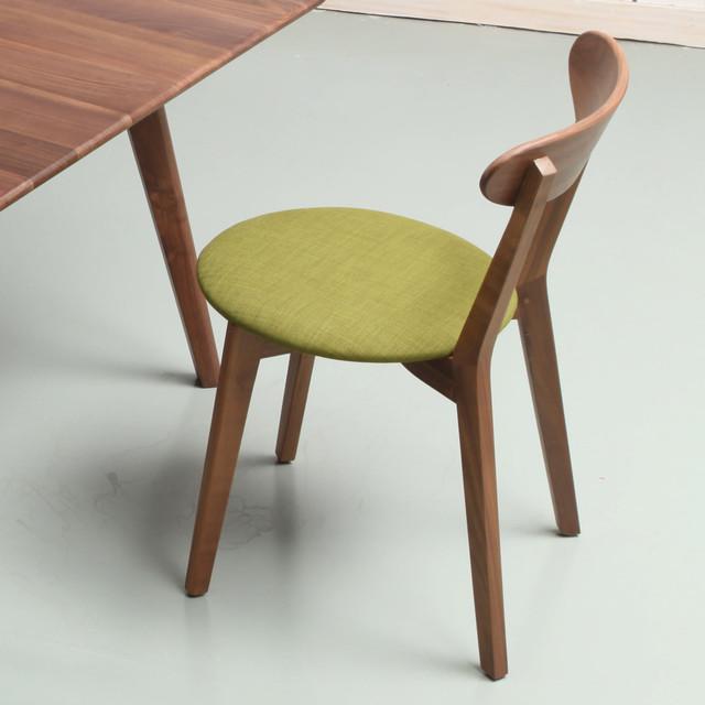 Henrik Danish Solid Walnut Dining Chair Light Green Seat Midcentury Din