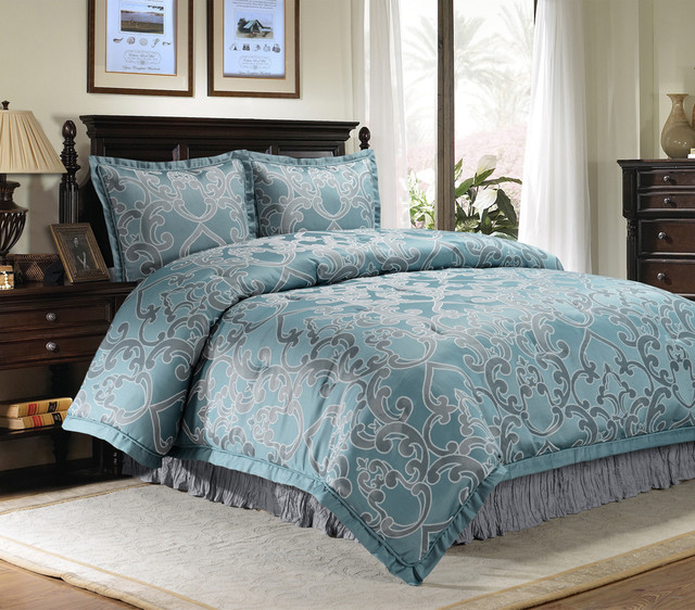 rosella blue scroll 4 piece comforter set contemporain couvre lit et parure couvre lit par. Black Bedroom Furniture Sets. Home Design Ideas