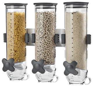 Smart Space Triple Canister Wall-Mounted Dispenser, Clear - Contemporary - Dry Food Dispensers ...