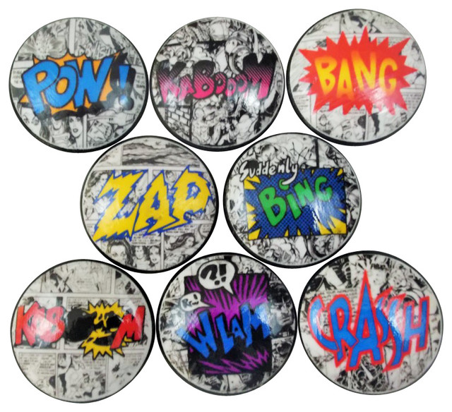 Set of 8 Comic Book Action Cabinet Knobs - Contemporary - Cabinet And Drawer Knobs - by Twisted ...