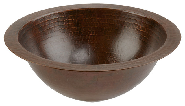 Small Round Under Counter Copper Sink - Rustic - Bathroom Sinks ...