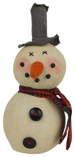 Toby Primitive Snowman Ornament - Traditional - Christmas Ornaments - by Birch Maison
