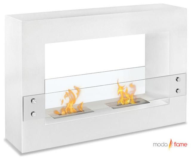 Moda Flame Alcoi Contemporary Indoor Outdoor Ethanol Fireplace In White Modern Indoor