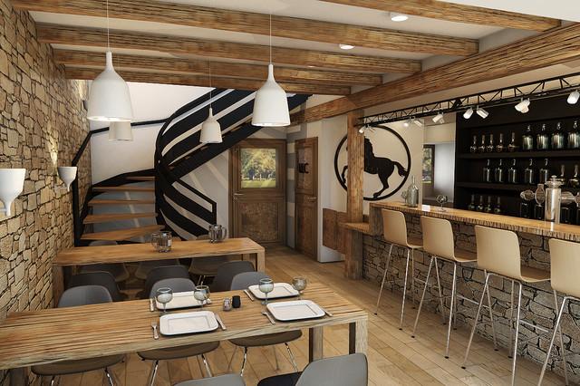 r novation d 39 une grange savoyarde en bar. Black Bedroom Furniture Sets. Home Design Ideas