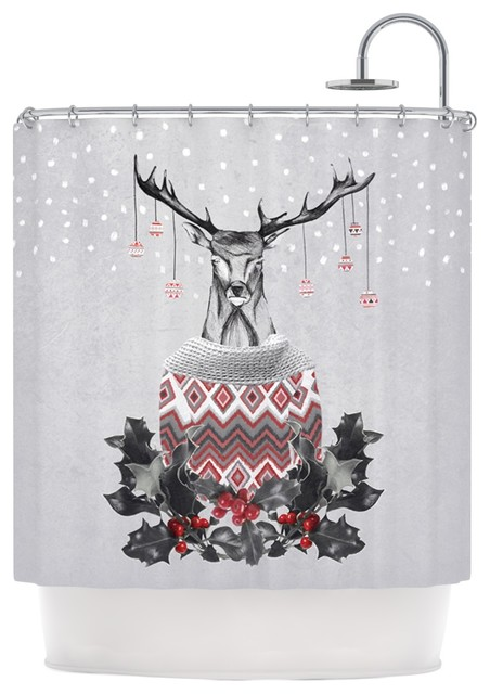 "... Deer Snow"" White Holiday Shower Curtain contemporary-shower-curtains"