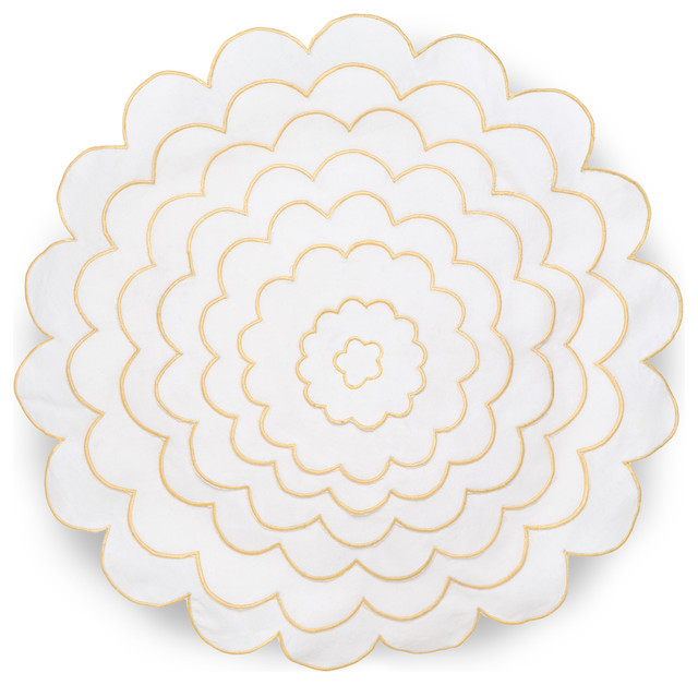 Round White Decorative Pillow : Collier Campbell English Bloom 16
