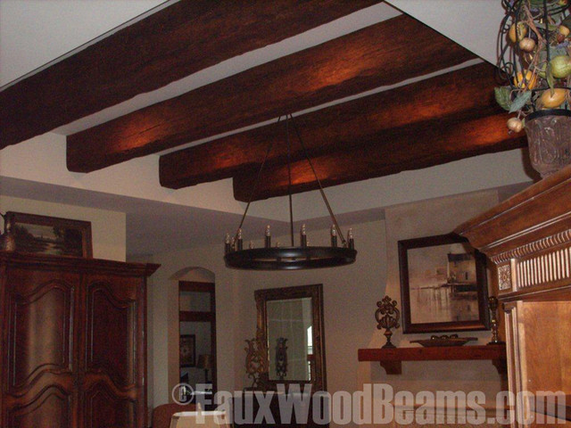 Faux Beam Tray Ceiling Update Traditional Family Room