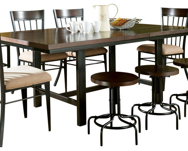 Steve silver crosby dining table in espresso with black for Traditional dining table bases