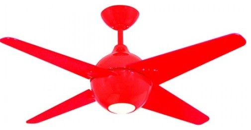42 Inch Ceiling Fan With Red Frame And Blades Contemporary