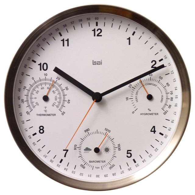 10quot Brushed Stainless Steel Weather Station Wall Clock  : wall clocks from www.houzz.com size 640 x 640 jpeg 91kB