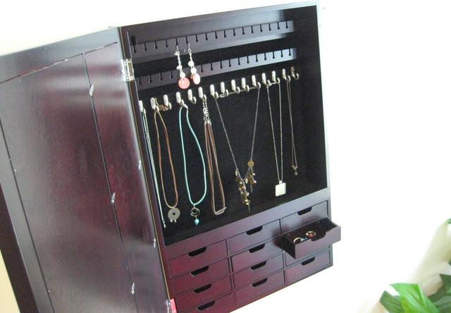 Victoria Wall Mount Jewelry Box Mahogany - Jewelry Boxes ...