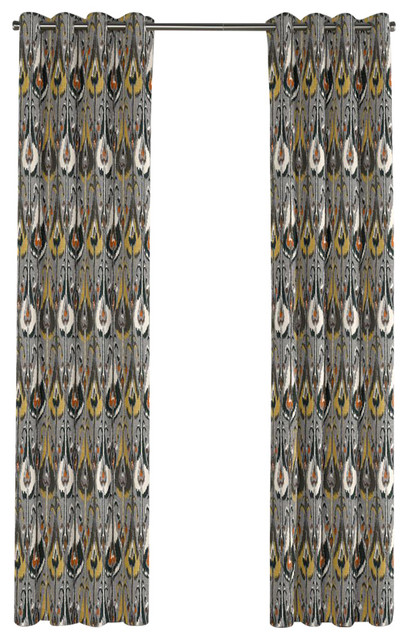 Curtains Ideas gray and orange shower curtain : Modern Gray and Orange Ikat Grommet Curtain - Mediterranean - Curtains ...