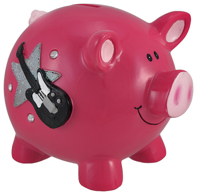Hot pink rock star piggy bank with rhinestones contemporary piggy banks by zeckos - Rhinestone piggy bank ...