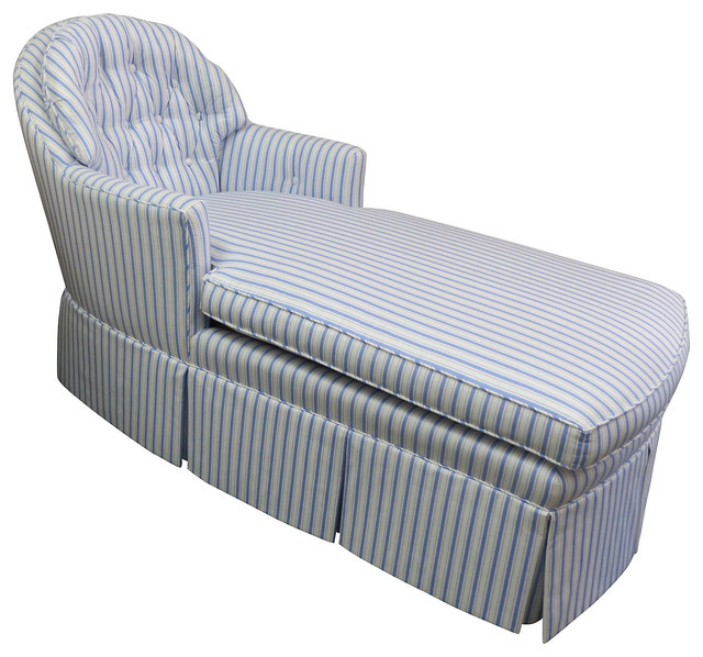 Tufted back blue white chaise longue contemporary for Blue leather chaise lounge