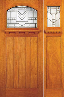 Mahogany Mission Style Prehung Door And Sidelite Leaded Glass Arts Crafts Front Doors