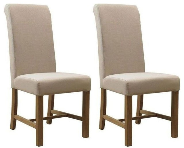 Mark Webster Natural Fabric Dining Chair FR17888 Pair Modern Dining C
