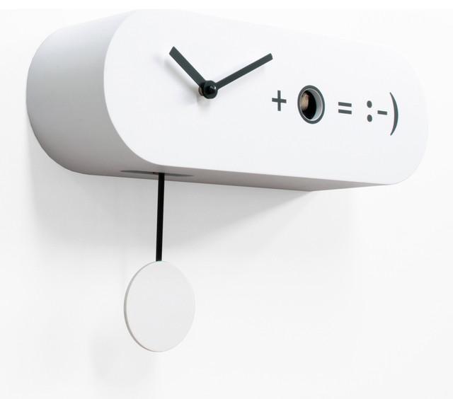 Formula 2155 White Wall Clock Contemporary Cuckoo
